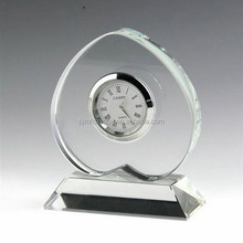 promotion heart shape alarm crystal table clock with base for souvenirs MH-ZB0017