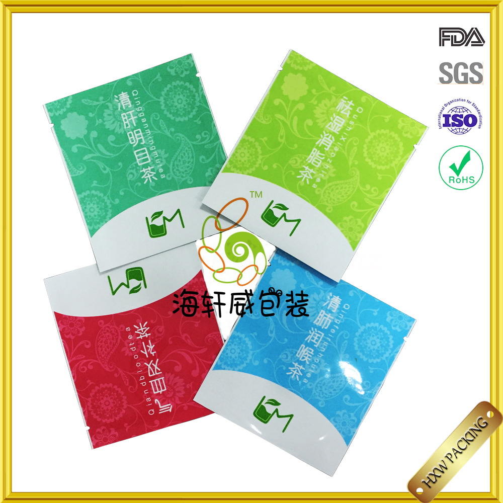 resealable laminated aluminum foil plastic bags/tea/coffee/food safe package for packaging