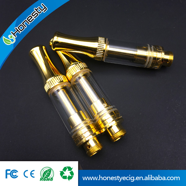 Pure taste cbd vape cartridge metal tip slim 510 atomizer glass tube vaporizer cartridge empty fit gold vape pen battery