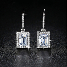 Wholesale White Gold Plated Dangle Earrings Diamond Rectangle Pendant  Micro Pave Earrings For Ladies Gift Zircon Long Earrings