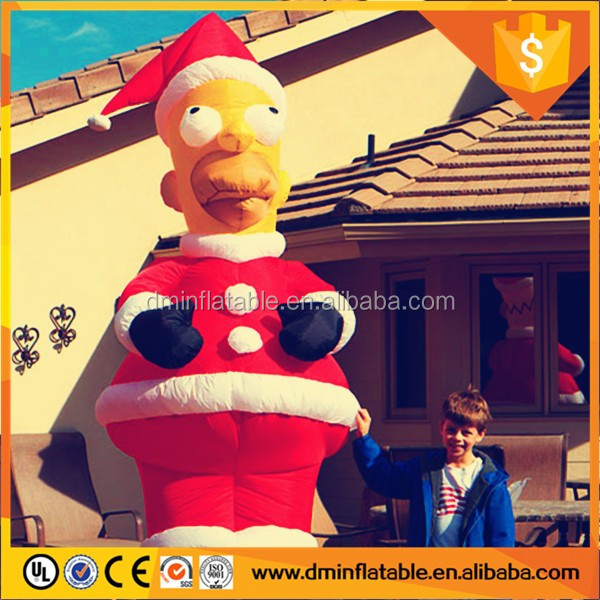 Popular christmas decoration inflatable homer simpson santa with led light