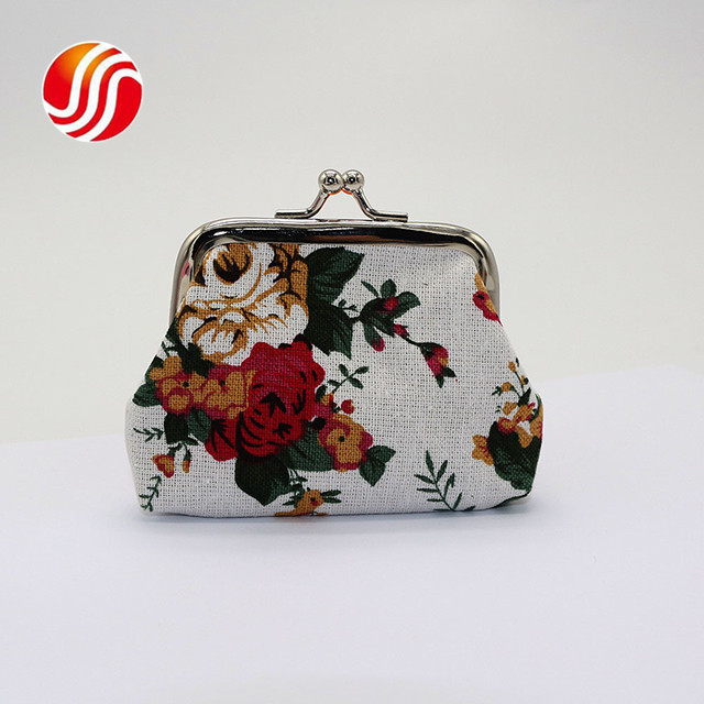 Rose Flowers Canvas Mini Coin <strong>Wallets</strong> Women Fabric Vintage Coin Purse Kids Cute <strong>Wallet</strong>