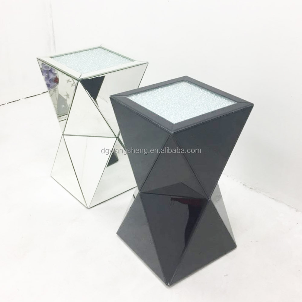 Three Dimensional Fashion Mirrored Corner Side Coffee Table
