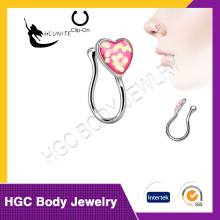 Glitter Heart Rhodium Plated Over Brass Fake/Faux Non Piercing Nose Clip Ornament Dimension: Width: 6.3mm, Height: 6.2mm