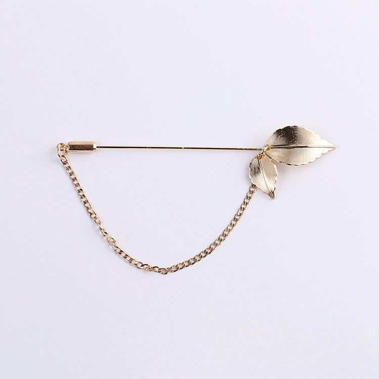 Shining simple design gold leaf long needle scarf pins