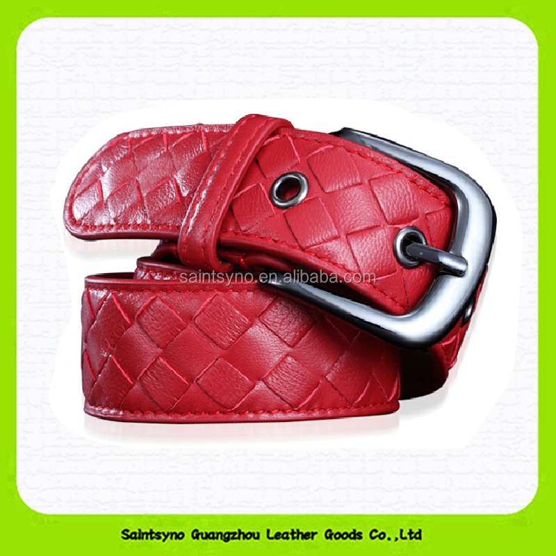 Full grain Woven pattern women genuine leather belt 15213A