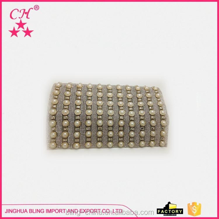 Crystal pearl rhinestones mesh manufacturer sale acrylic line drill plastic net