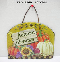 Autumn Blessings Sign Harvest Wall Plaque Thanksgiving Pumpkin