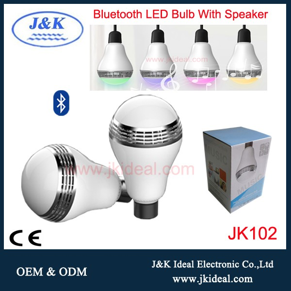 Jk102 5w 100 240v color app controlled bluetooth light for Bluetooth controlled light bulb