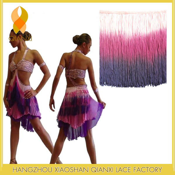 "6"" Ombre Stretch Fringe Chainette Tri Colored Fringe For Costume ,Skirt ,Dresses"