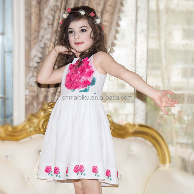 Summer 2016 Little Appliques Kids Party Dress for Girls Solid Clothing Baby Girls Birthday