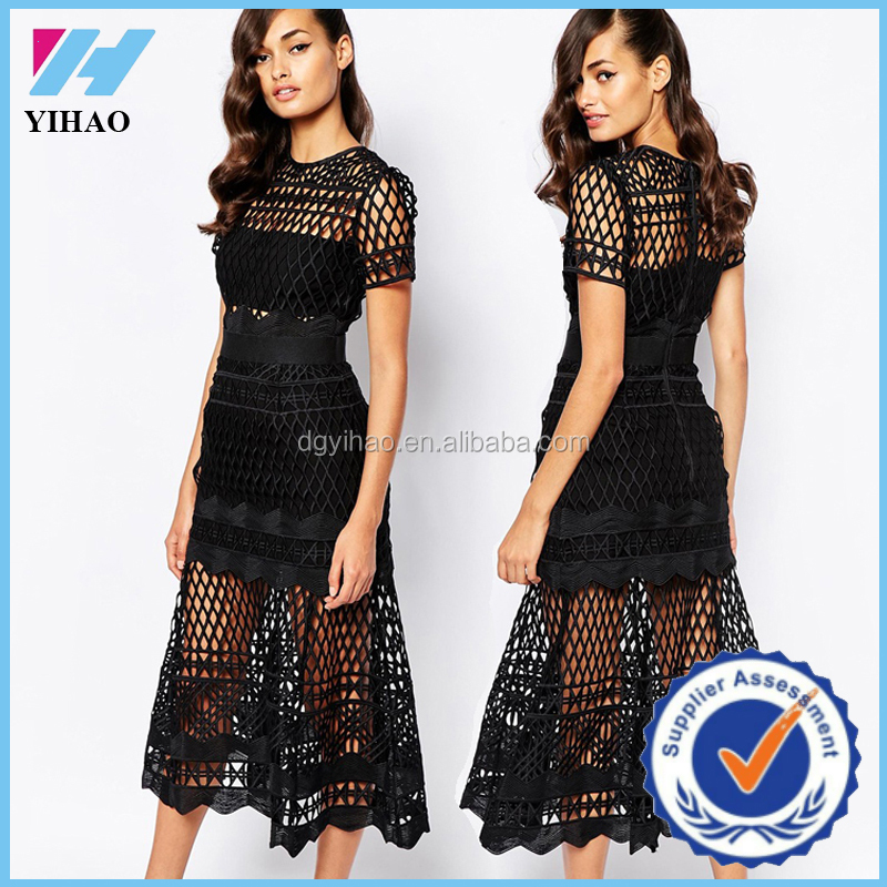 wholesale clothing latest net dress design cut work dress for women