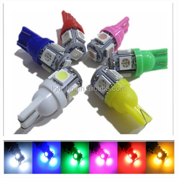 Wholesale led auto light red/green/yellow/pink/blue/ice blue 12V W5W 194 147 152 T10 led car light