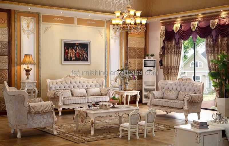 Kb058 2015 new design cream white on sale wooden velvet for Sofas clasicos elegantes