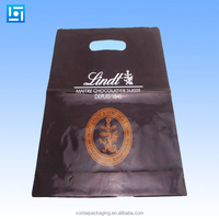 Foldable die cut handle plastic shopping bags wholesale/custom made cheap die cut bag for clothes or shoes