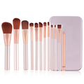 Newest cheap portable cute 12 piece makeup brushes travel makeup brush set with tin box