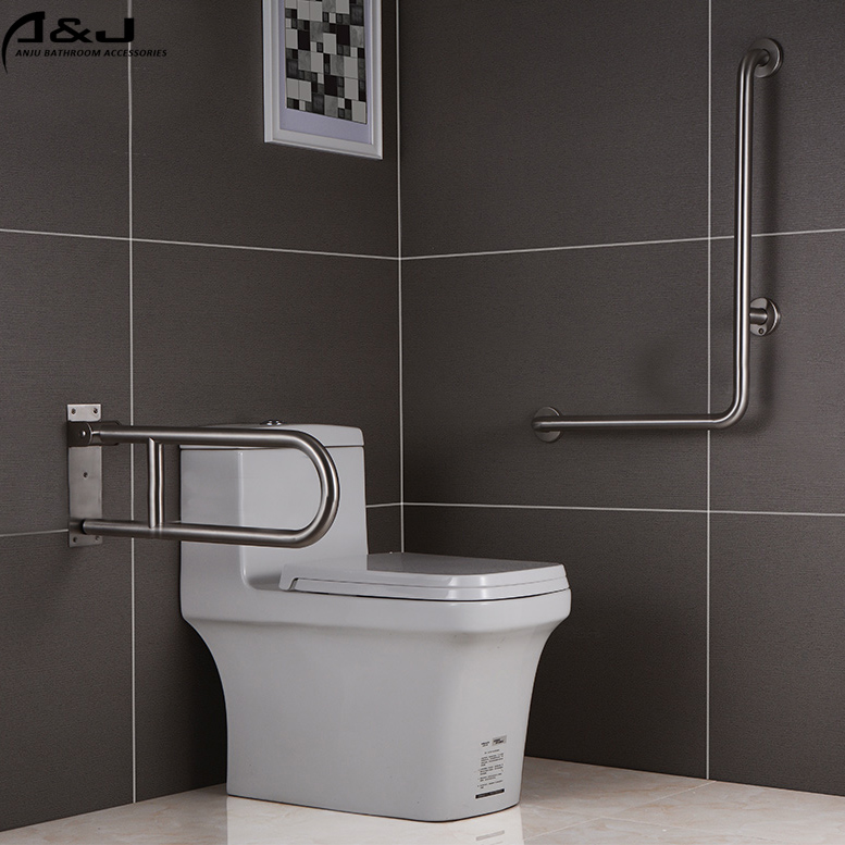 New Design For Disabled Handicap Stainless Steel Wire Drawing Toilet Bathroom Grab Bars