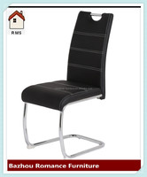 Design steel chrome leg black leather cheap price for threading chair