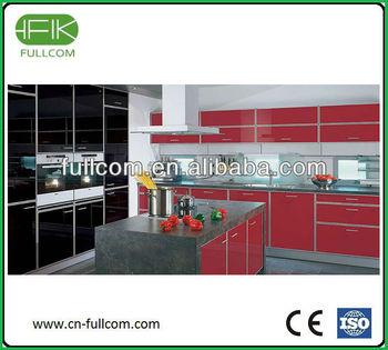 Red black high gloss kitchen cabinet door buy high gloss for Red high gloss kitchen doors