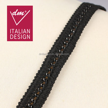 Wholesale black braided embroidered woven decorative metal chain trim