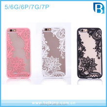 TPU Bumper With Plastic Case For Iphone 5 6 6+ 7 7+ Lace Flower Case