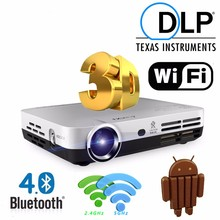 Mini 3D Projector HD DLP Projector Home Video Beamer with Android Dual WIFI Bluetooth Miracast Airplay Connect Television
