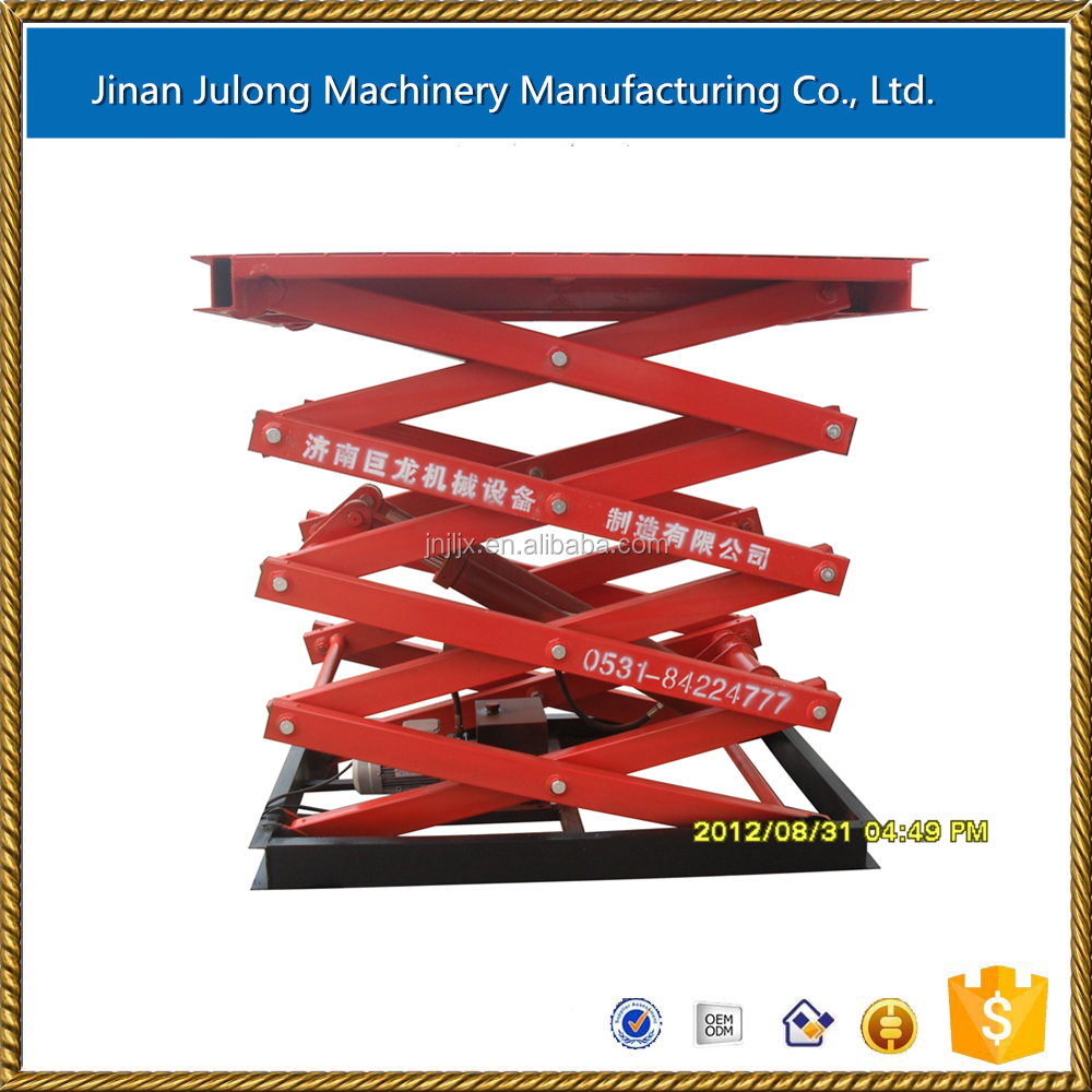 Hydraulic fixed scissor lift used warehouse goods