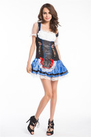 Instyles Quanzhou China manufacturer Sexy Blue Swedish Oktoberfest Beer Maid Wench Dress Halloween Costume S - XXXL