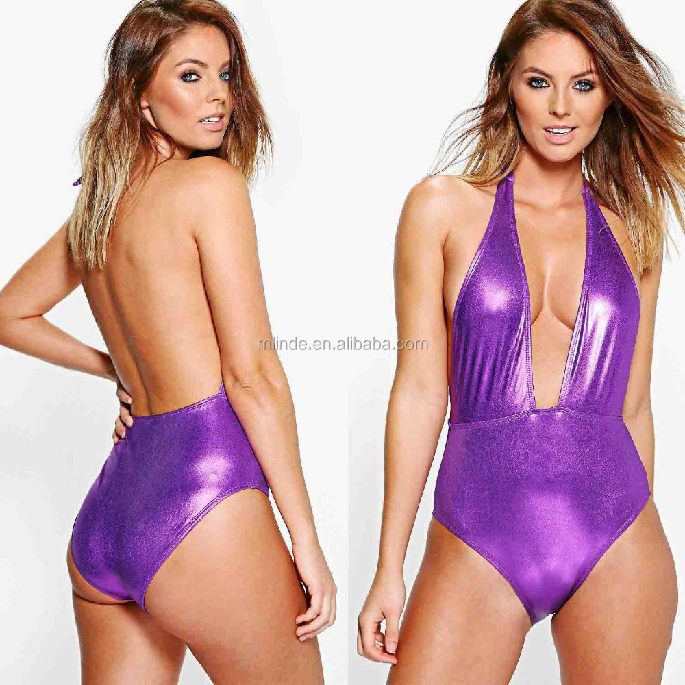 High Cut Thong Swimsuit Images Mature Women Boutique Metalic Plunge Japanese Sexy One-piece Thong Leotard Swimsuit