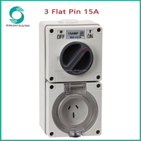 56CV315/310 IP66 waterpoof outdoor 3 flat pin 10A 15A 20A 32A 40A 50A flat and round pin combo switch and socket