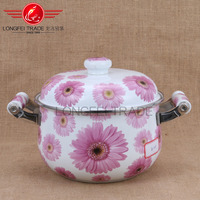 high quality china flower decal enamel casserole / enamel cookware wholesale