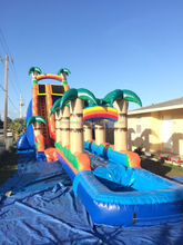 2017 Inflatable 22 Foot High Tropical Water Slide with pool for sale