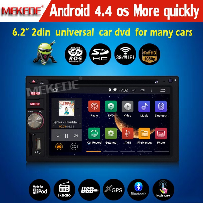 New arrive New style 100% pure Android 4.4 system CAR DVD/cassette player for 2din universal with full functions