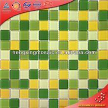 China Foshan Swimming Pool Bathroom Water Proof dark green onyx floor tiles Glass Mosaic Tiles
