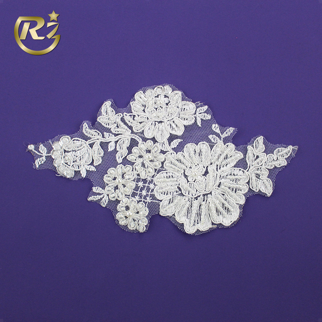 LH-246R1 Flower Design Polyester Sequin Pearl Beaded Crochet Bridal Wedding Dress Applique Lace