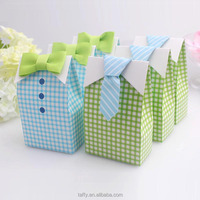 christening baptism kids children birthday favor box My Little Man Bow Tie Boy Baby Shower Favor Candy gift box Treat Bag