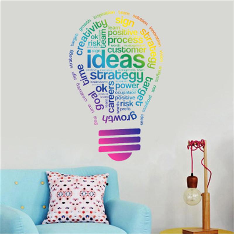 idea bulb words motivation quote wall decal art sticker vinyl