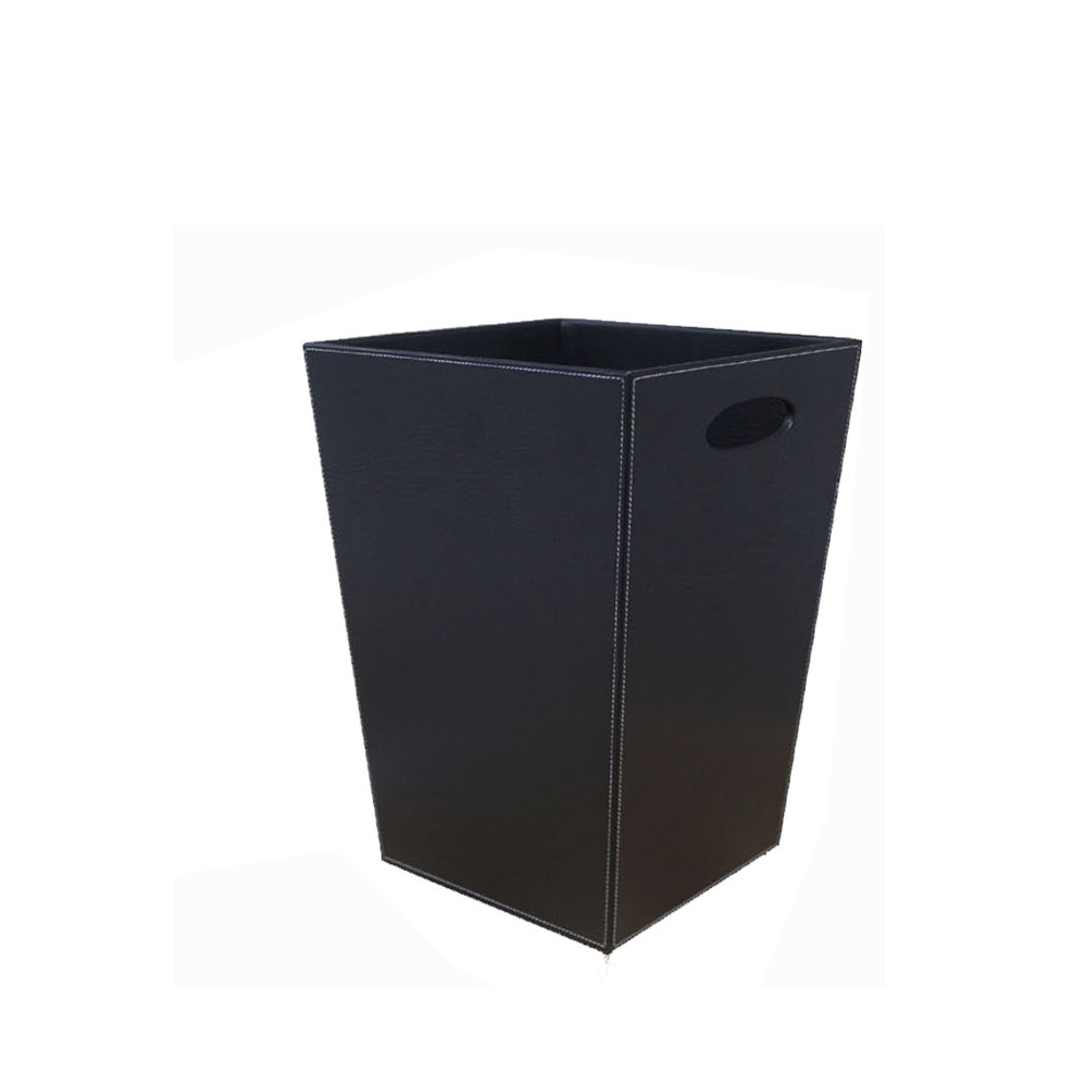 Custom new style multifunctional square leather waste bin