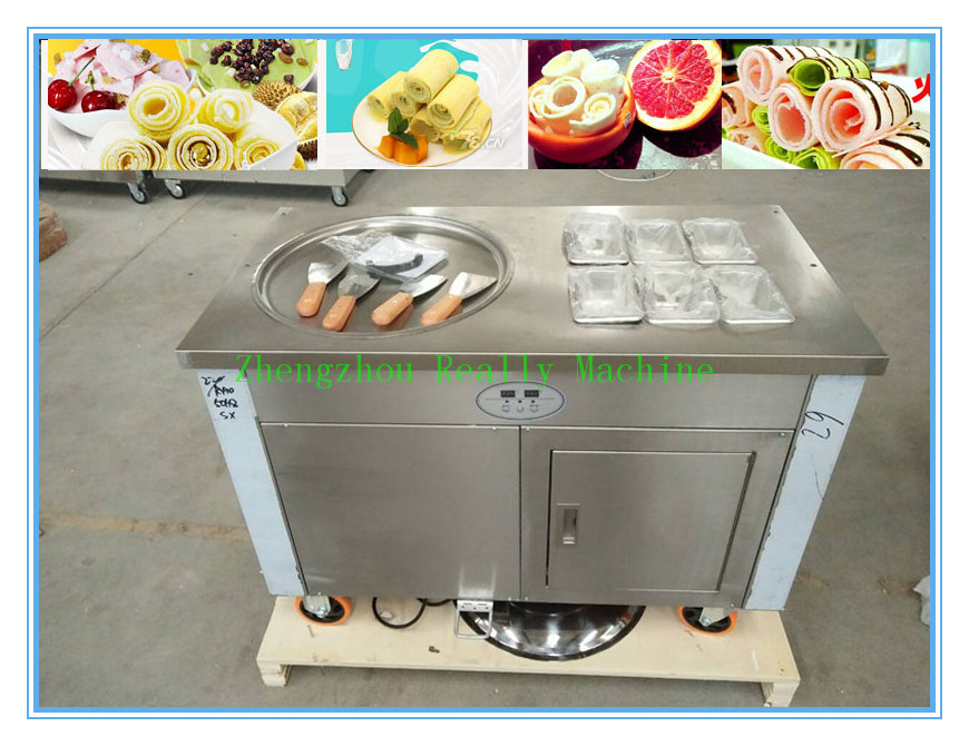 Thailand compressor stainless steel 304 single round pan roll fry fried ice cream machine flat pan fried ice cream machine