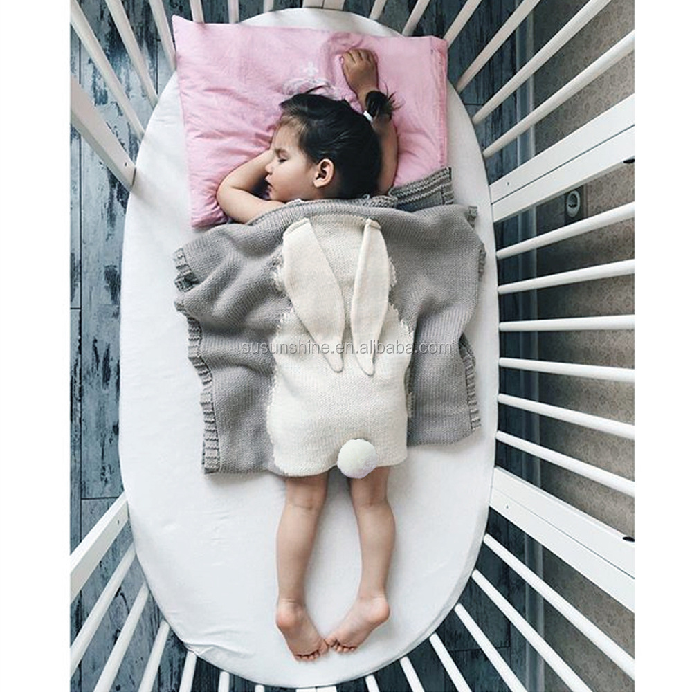 INS Hot Style The Three-Dimensional Rabbit Ears Children Hold Blanket Knitted Blanket