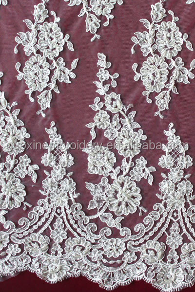 2014 New Design Mesh Embroidered Lace Fabric For Dress