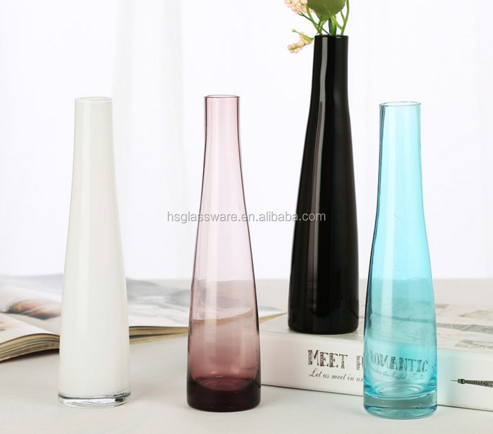 Single Flower Colored Glass Home Decor White Purple Black Modern Blue Vase For Wedding Centerpiece