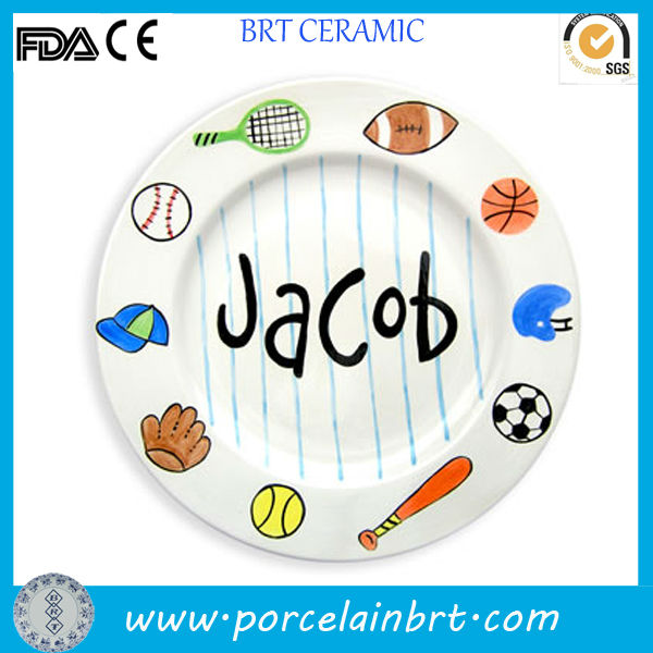 round ceramic decorate custom design dinner plate