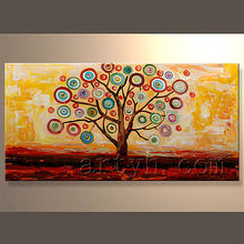 Modern wall canvas art acrylic painting abstract modern tree