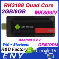 Factory Price!! Quad core RK3188 strong signal tv stick antenna MK809 IV 2GB RAM RK3188 android mini pc