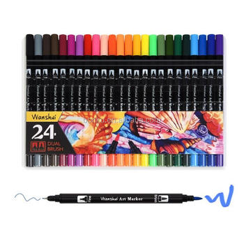 24 Marker Pens Dual Tip Brush Pens with Fineliner Tip 0.4mm with color book
