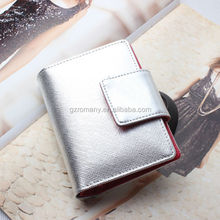 low MOQ30 short trifold clip genuine leather wholesale pen passport business card holder wallet ladies