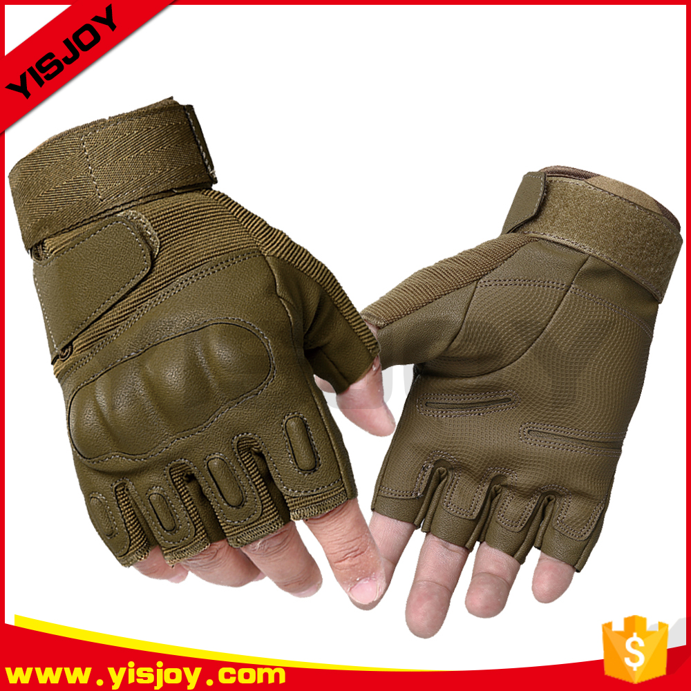 2017 new design leather military climbing gloves short finger police tactical gloves