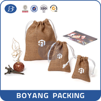 Custom logo promotion drawstring gift hessian bag