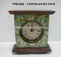 "7-3/4""H Wood Table Clock"